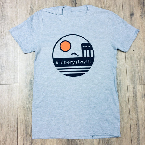 Faberystwyth Sunset T-Shirt Unisex Fit Heather Grey