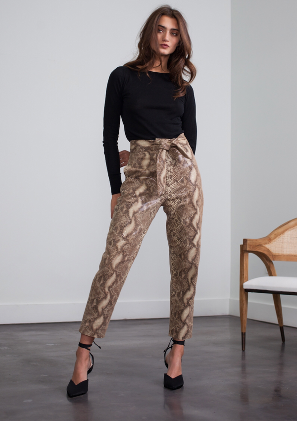 STELLA LEATHER PANTS - SNAKE