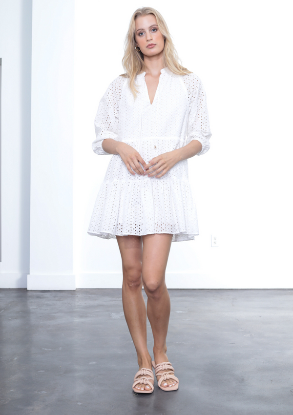 IRINA EYELET MINI DRESS - WHITE