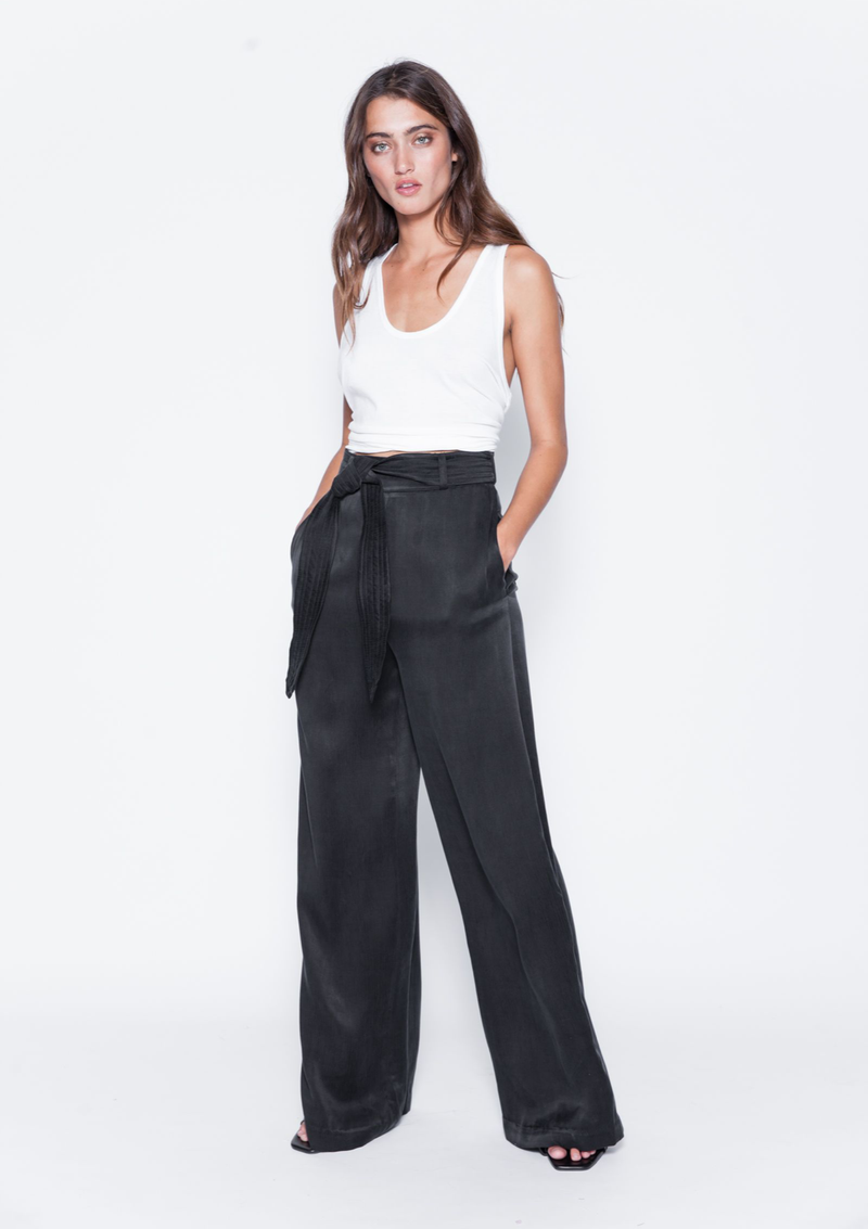 LAURA SOLID PANTS - BLACK