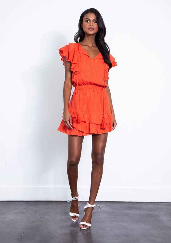 RAFFA METALLIC MINI DRESS - TANGERINE