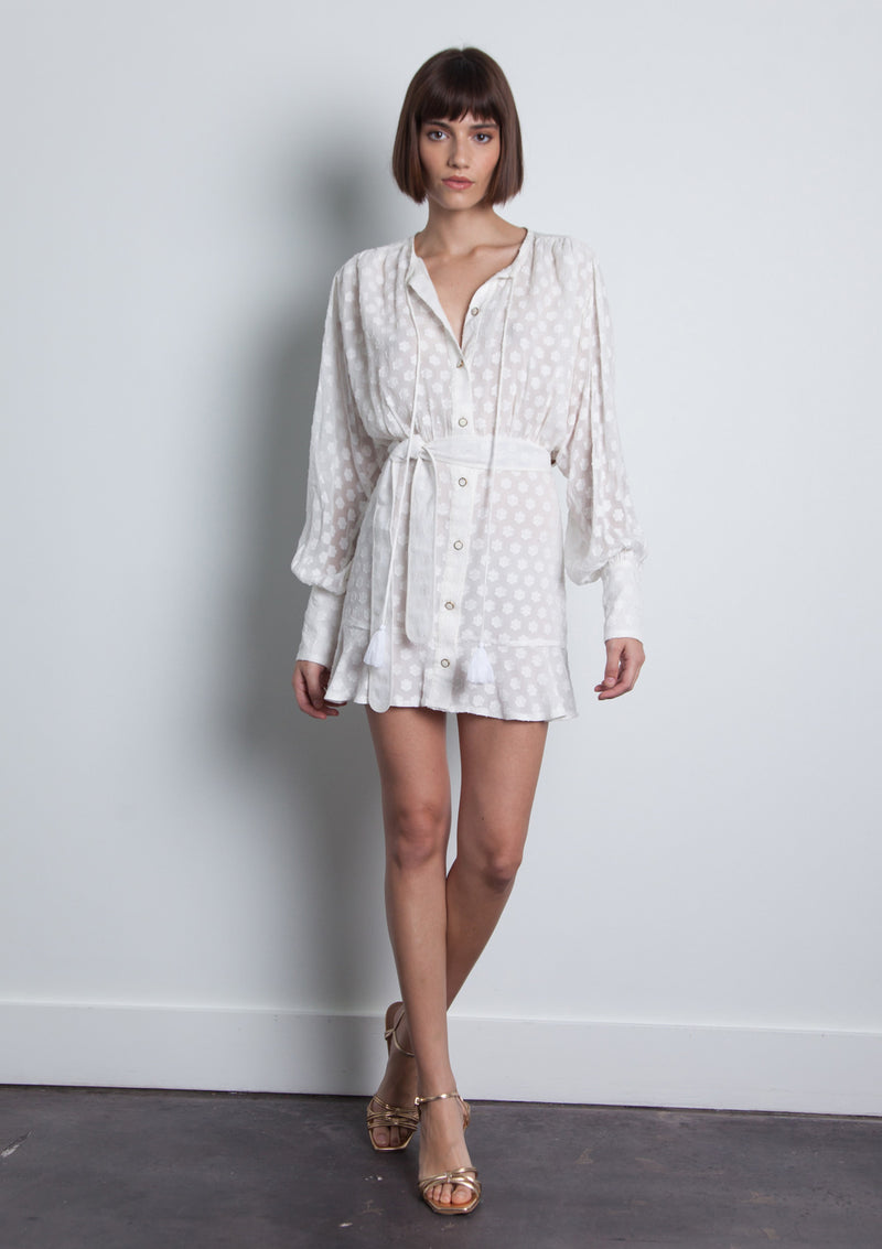 Sami Jacquard Mini Dress - White