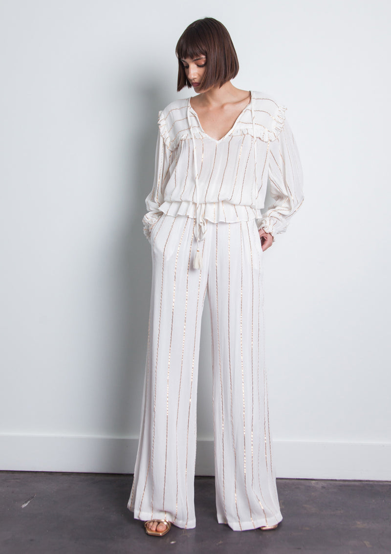 Rocio Stripe Metallic Pant - White