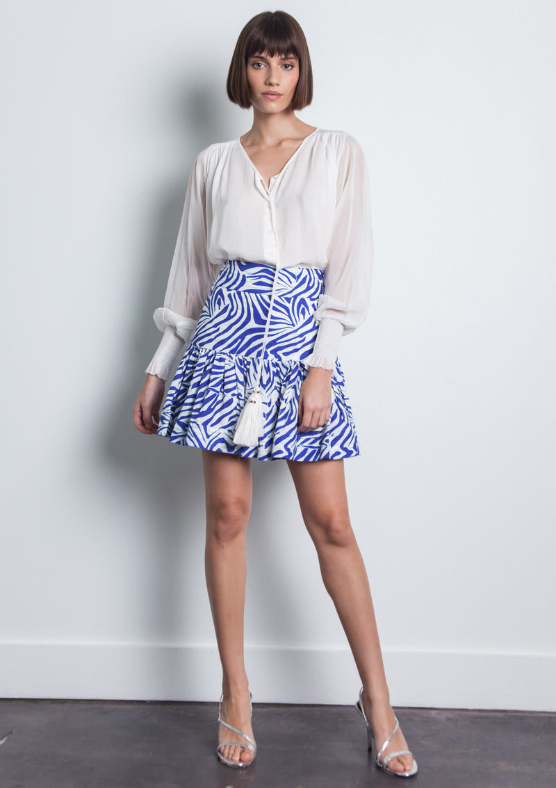 Luli Print Mini Skirt- Zebra Blue
