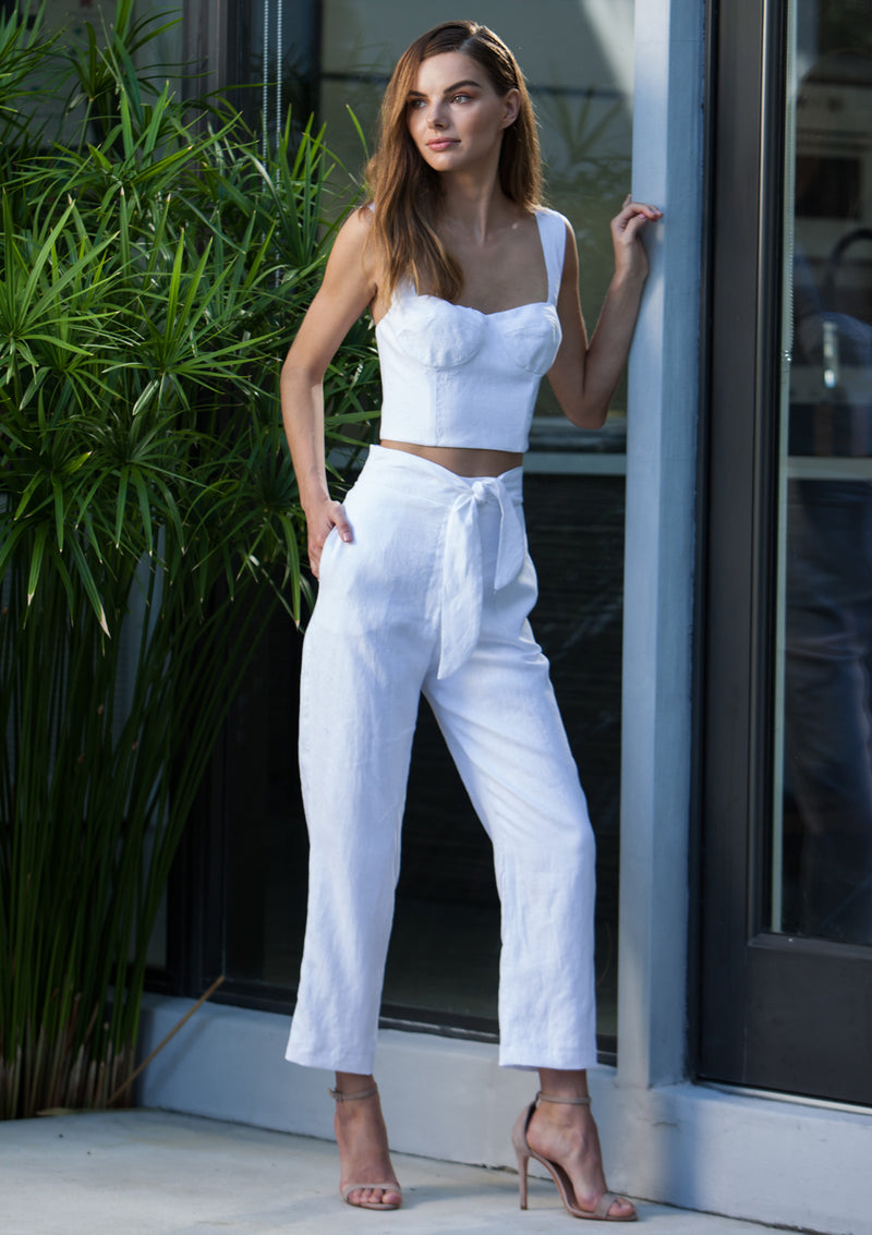 Argentine Linen Crop Top - White