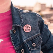 Load image into Gallery viewer, Cool Enamel Pins from Queen On The Scene - Don't F*ck With My Fierce Pin that's Round with Pink Glitter