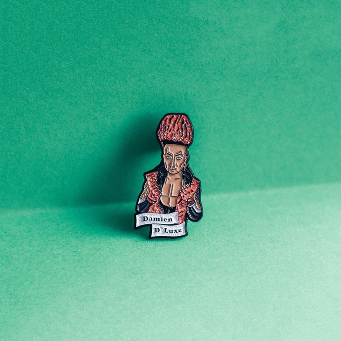 Damien D'Lux Pin designed by Queen On The Scene. Small pin with a mighty purpose!