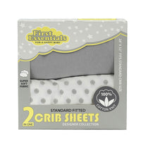First Essentials 2 in 1 crib sheets Light Gray/ Dotted - Dimples Baby Brooklyn