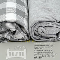 First Essentials 2 in 1 Crib Sheets Dark Gray/ Gray - Dimples Baby Brooklyn