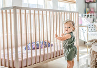 Nook Crib Mattress Cover - Blush Pebble - Dimples Baby Brooklyn