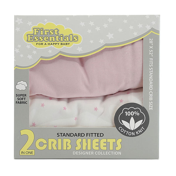 First Essentials 2 in 1 crib sheets Pink / Star - Dimples Baby Brooklyn