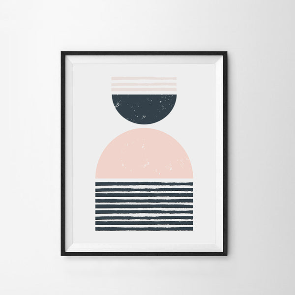 Geo Blush Pink Navy Art Print - Dimples Baby Brooklyn