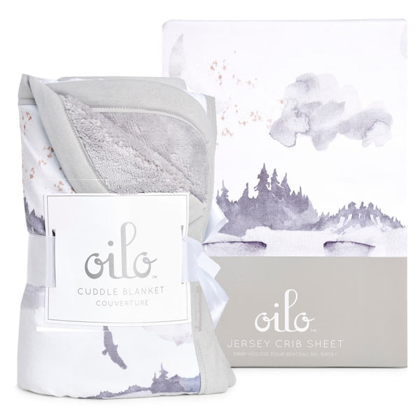 Misty Mountain Cuddle Blanket & Fitted Crib Sheet Set - Dimples Baby Brooklyn