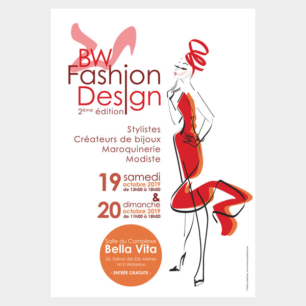 Sumageza auf der Fashion Design 2019 in Waterloo, Belgien-Flyer mit tanzender Frau