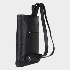 Bags-by-SUMAGEZA-SU-Backpack-slim - backpack-black calf leather, back-6, turned 120 degrees, slim elegant design, high quality materials