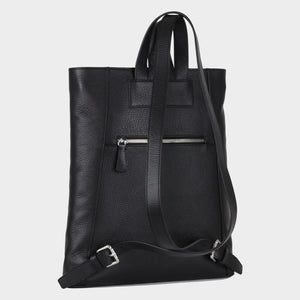 Bags-by-SUMAGEZA-SU-Backpack-slim - backpack-black-calfskin, back-7, turned 150 degrees to the left, zipped compartment on the back