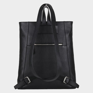 Bags-by-SUMAGEZA-SU-Backpack-slim - backpack-black calf leather, back view-8, large zipper pocket on back for valuables