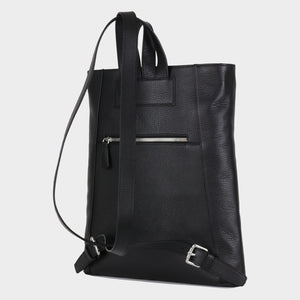 Bags-by-SUMAGEZA-SU-Backpack-slim - backpack-black calf leather, back-9, turned 30 degrees further to the left, additional zipper compartment