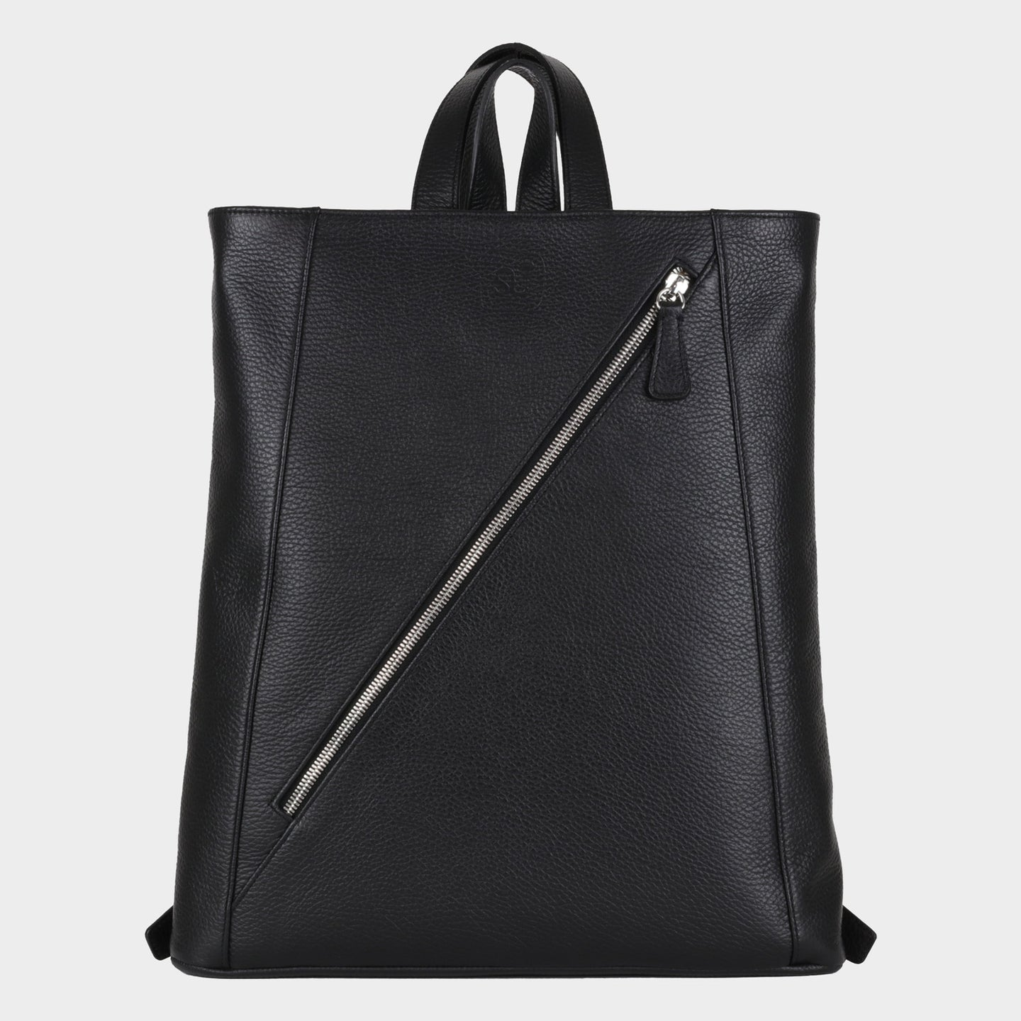 Bags-by-SUMAGEZA-SU-Backpack-slim - backpack-black-calf leather, front view-1, with long diagonal zipper, as characteristic design element