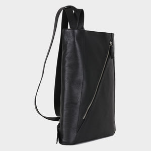 Bags-by-SUMAGEZA-SU-Backpack-slim - backpack-black-calfskin, side view-12, turned 45 degrees to the right, elegant, slim design