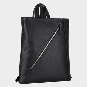 Bags-by-SUMAGEZA-SU-Backpack-slim - backpack-black calf leather, front-13, turned 30 degrees to the right, noble zipper, oblique from bottom left to right top