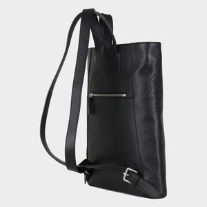 Bags-by-SUMAGEZA-SU-Backpack-slim - backpack-black calf leather, back-10, turned 45 degrees further to the left, elegant slim shape