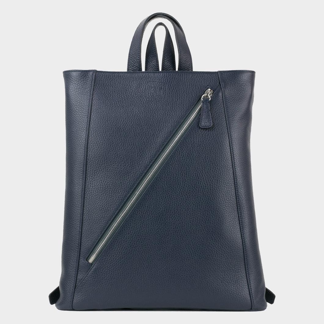 Bags-by-SUMAGEZA-SU-Backpack-slim - backpack-night blue calfskin, front-1, with long zipper from the lower left to the upper right corner.