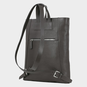 Bags-by-SUMAGEZA-SU-Backpack-slim - backpack-dark grey calf leather, back-5, turned 30 degrees further to the left, extravagant, noble, slim shape