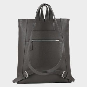 Bags-by-SUMAGEZA-SU-Backpack-slim - backpack-dark grey calf leather, back-6, turned 60 degrees further to the left, zipper compartment on back well hidden