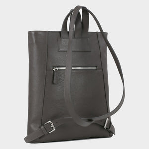 Bags-by-SUMAGEZA-SU-Backpack-slim - backpack-dark grey-calf leather, backside-7, turned 60 degrees further to the left, zipped compartment on the inside back for valuables