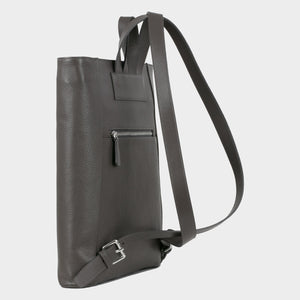Bags-by-SUMAGEZA-SU-Backpack-slim - backpack-dark grey calf leather, back -11, turned 30 degrees further to the left, extravagant design, elegant and slim shape
