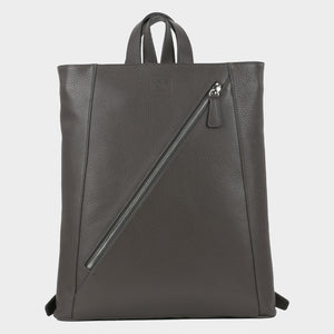 Bags-by-SUMAGEZA-SU-Backpack-slim - backpack-dark grey-calf leather, front-1, long zipper from bottom left to top right on front