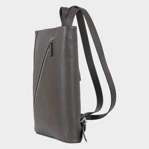 Bags-by-SUMAGEZA-SU-Backpack-slim - backpack-dark grey calf leather, front side-4, turned 60 degrees to the left, slim shape and noble materials