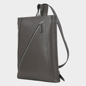 Bags-by-SUMAGEZA-SU-Backpack-slim - backpack-dark grey calfskin, front-3, turned 45 degrees to the left