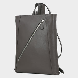 Bags-by-SUMAGEZA-SU-Backpack-slim - backpack-dark-grey-calf leather, front-2, turned slightly to the left, long angled zipper as design element