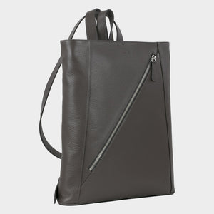 Bags-by-SUMAGEZA-SU-Backpack-slim - backpack-dark grey calf leather, right front-2, long zipper from left corner up to top right