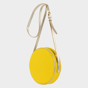 Bags-by-SUMAGEZA-SU-Boite-de-chocolat-neo yellow shoulder bag - front view-3. The bag is turned to the left by about 30 degrees. Made of lemon yellow textile composite