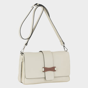 Bags-by-SUMAGEZA-SU-Bubinga - ladies bag-beige-calfskin-long handle, front-11, rotated 30 degrees to the right. Front decorated with Bubinga precious wood.