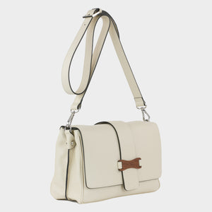 Bags-by-SUMAGEZA-SU-Bubinga - ladies bag-beige-calfskin-long handle, front-12, turned 45 degrees to the right, bubinga-precious wood on the front, in noble harmony with beige calfskin and dark rim
