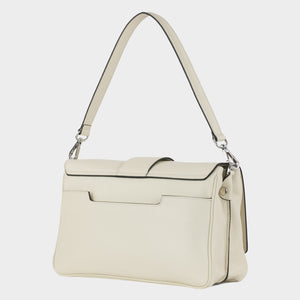 Bags-by-SUMAGEZA-SU-Bubinga - ladies bag-beige-calf leather-short handle, back-7, turned 30 degrees to the left, large extra compartment on back, replaceable short and long handle