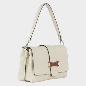 Bags-by-SUMAGEZA-SU-Bubinga - ladies bag-beige-calfskin-short handle, front-8, turned 45 degrees to the right, beige color harmonizes with the Bubinga precious wood on the front.