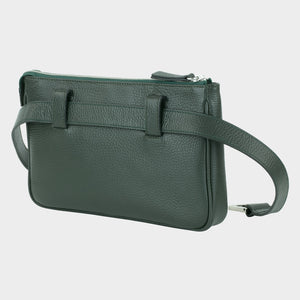 Bags-by-SUMAGEZA-Su-le-Double-Crossbody-dark green-calfskin, rear view-6, turned 30 degrees to the left, pocket-double of larger rear and smaller front pocket
