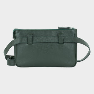 Bags-by-SUMAGEZA-SU-Le-Double-Crossbody-dark green-calf leather, back view-7, detachable belt on the back, bag to wear in 4 ways