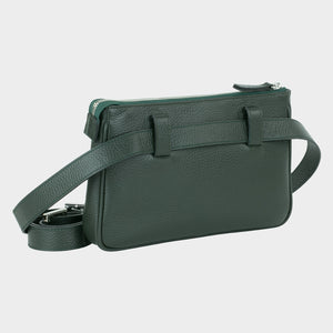 Bags-by-SUMAGEZA-SU-Le-Double-Crossbody-dark green-calf leather, rear view-8, turned 30 degrees to the right, also to wera as a belt, shoulder or handbag