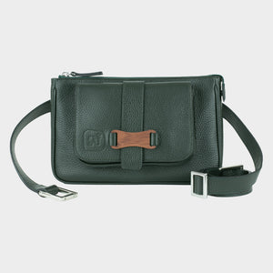 Bags-by-SUMAGEZA-SU-Le-Double-Crossbody-dark green-calf leather, front view-1, to be worn as a belt, shoulder bag or clutch