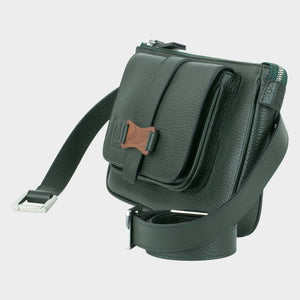Bags-by-SUMAGEZA-SU-Le-Double-Crossbody-dark green-calf leather, front view-11, rotated 45 degrees to the left, with flexible straps to carry in 4 ways