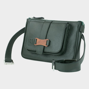 Bags-by-SUMAGEZA-SU-Le-Double-Crossbody-dark green-calfskin, front view-12, turned 15 degrees to the left, can also be used as a belt, shoulder or handbag