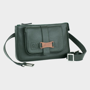 Bags-by-SUMAGEZA-SU-Le-Double-Crossbody-dark green-calf leather, front-view-2, turned by 15 degrees to the right.