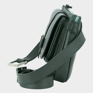 Bags-by-SUMAGEZA-Su-le-Double-Crossbody-dark green-calf leather, side view-11, bag to modify by removable belt in 4 ways