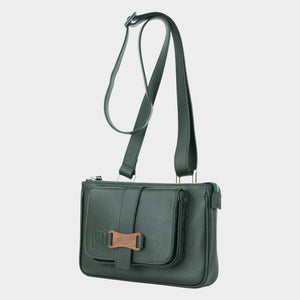 Bags-by-SUMAGEZA-SU-Le-Double-Crossbody-dark green-calf leather, front view-14, turned 30 degrees to the left, shown here as a shoulder bag